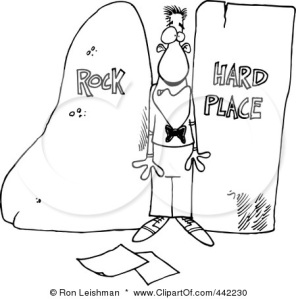 442230-cartoon-black-and-white-outline-design-of-a-man-stuck-between-a-rock-and-a-hard-place-poster-art-print