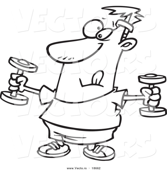 vector-of-a-cartoon-man-exercising-with-dumbbells-outlined-coloring-page-by-ron-leishman-18662
